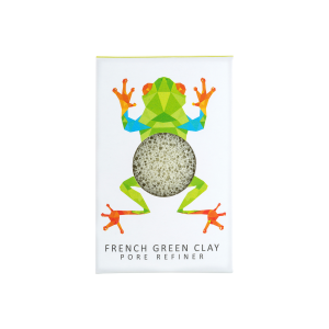 The Konjac Sponge Co Mini Pore Refiner Rainforest Tree Frog Sponge with French Green Clay
