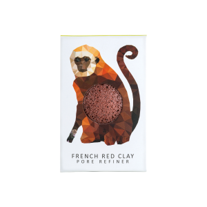 The Konjac Sponge Co Mini Pore Refiner Rainforest Monkey Sponge with Red French Clay
