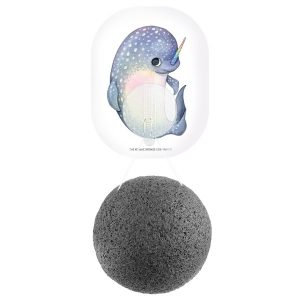 The Konjac Sponge Co Mythical Narwhal Konjac Sponge with Bamboo Charcoal & Hook