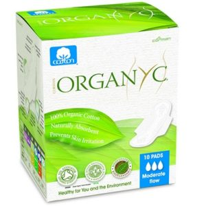 Organyc Cotton Sanitary Pads Moderate Flow Box of 10