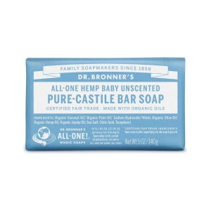 Dr Bronner Baby Unscented Pure Castile Bar Soap
