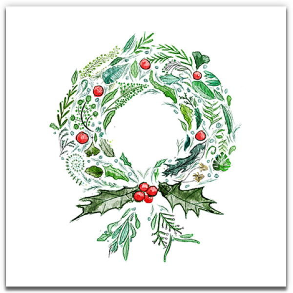 1 Tree Cards The Festive Collection Green Wreath