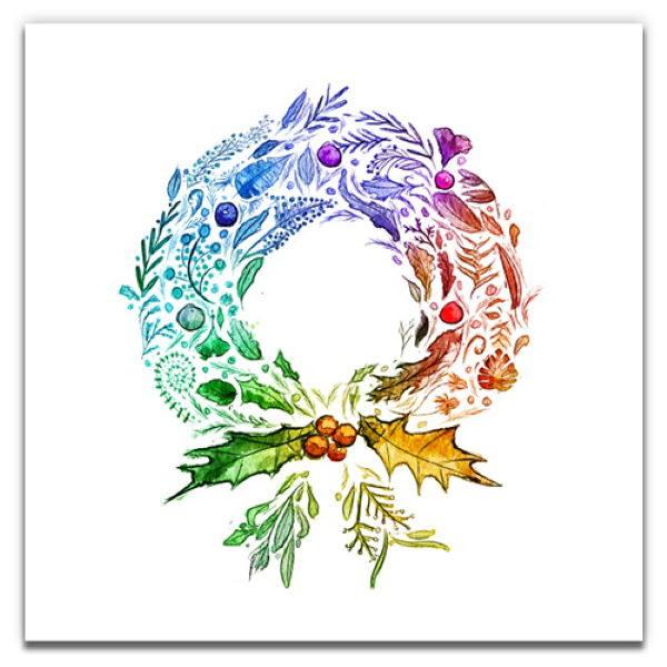 1 Tree Cards The Festive Collection Rainbow Wreath