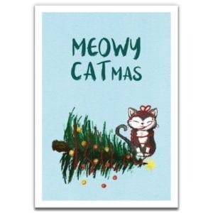 1 Tree Cards Meowy Catmas