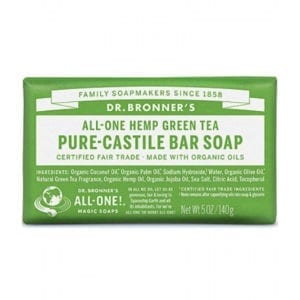 Dr Bronner Green Tea Pure Castile Bar Soap